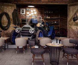 Vintage Car Prints NZ - Custom mural Vintage series wallpaper theme Cafe Bar restaurant KTV living room decoration wood old car garage wallpaper mural