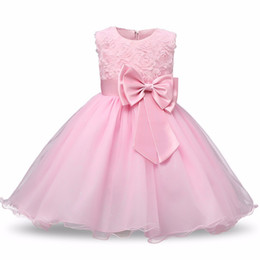 1st birthday clothes girl UK - Baby Dress Girls Dresses 8 Color 2018 Baby Clothing Bow Baptism 1st Birthday Dresses Girls Kids Robe Cute Skirt