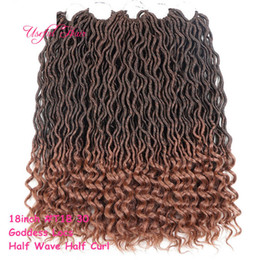 hair braiding styling UK - OMBRE COLOR GODDESS LOCS HAIR marley braiding hair Extensions free ship new style 18inch crochet braids hald wave hald curly for black women