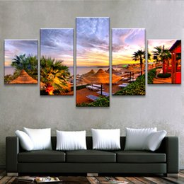 Art Canvas Prints Australia - Living Room Wall Decor Art 5 Pieces Palm Trees Beach Resort Sunrise Seascape Paintings Poster Modular Pictures Canvas HD Printed
