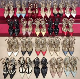 $enCountryForm.capitalKeyWord NZ - women high heels dress shoes party fashion rivets girls sexy pointed toe shoes buckle platform pumps wedding shoes 18 color 8cm 11cm