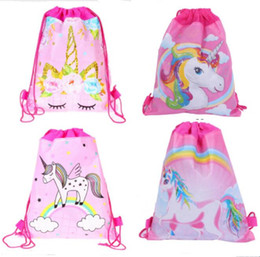 Cartoon Printing Unicorn Drawstring Bags Non Woven Pony Backpack Students Shoulder Storage Pouch Girls Children Birthday Gift Backpacks