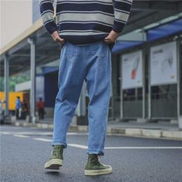 Denim Haren Pant NZ - 2017 Haren Blue Washed Jeans brand men baggy pencil pants Hip Hop Casual Fashion Denim Cotton Solid Colors Thicken Trousers