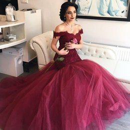 $enCountryForm.capitalKeyWord Australia - Burgundy Red Mermaid Prom Dresses 2018 Elegant Off The Shoulder Lace Tulle Corset Backless Evening Gowns Formal Dresses Sweep Train