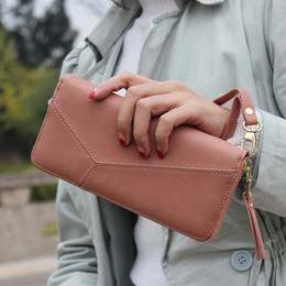 Wholesale Wrist Zipper Wallet Australia - Fashion Women Long Wallets Leather Zipped Irregular Splice Coin Clutch Purse Ladies Wallet With Solid Color Wrist Band New