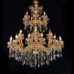 Chandeliers Australia - Large Gold Crystal Chandelier Lighting Big Cristal Lustres Light Fixture Chandelier Crystal for Hotel Project MD2117