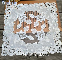 Kitchen Place Mats Canada - HOT beads table place mat cloth embroidery pad cup mug holder Organza coaster placemat doily Christmas wedding kitchen decor
