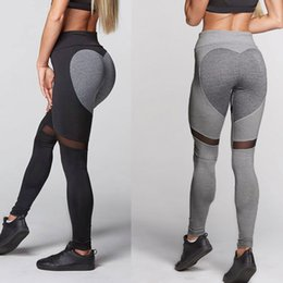 1626a67f3ea459 Girls Tight Black Yoga Pants Canada - Heart Sport Pants Women Girl Sexy Hip  Up Tight