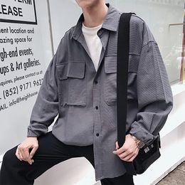 $enCountryForm.capitalKeyWord Canada - Men Cargo Shirts Coat 2018 Mens Pockets Long Sleeve Retro White Grey Shirtsroupas Masculinas Korean High Quality Jackets 50CS010