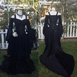 wedding dresses straps sleeves NZ - Black Gothic Wedding Dresses A Line Lace Garden Wedding Gowns Off the Shoulder Straps Long Sleeves Corset Wedding Bridal Gowns Vintage