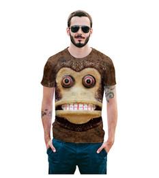 2018 Лето обезьяна с коротким рукавом мужчины футболка творческий 3D цифровой печатный мультфильм одежда модные лучшие цены
