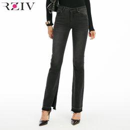 $enCountryForm.capitalKeyWord NZ - RZIV 2018 autumn female high waist jeans casual Slim solid color split design of micro speaker jeans