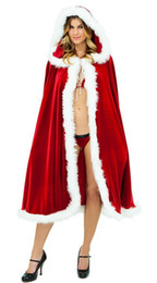 Santa Women Costume NZ - Christmas Red Cloak Cape Cosplay Costume For Adult Women Hooded Xmas Santa Claus Stage Show Party Clothing