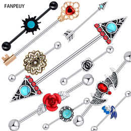 arrow ring stainless steel Canada - urgical Steel Industrial Barbell Earring Double Arrow Opal Stone Cartilage Helix Piercing Tragus Ear Stretcher 20pcs