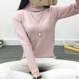 2d558f08d61 2016 new fashion Women white Lapel turtleneck sweater female basic knitted  shirt Twist thick slim long sleeve pullover sweater