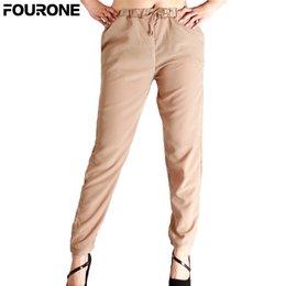 $enCountryForm.capitalKeyWord NZ - Women Drawstring Chiffon Harem Pants Solid Color Ankle-length Pencil Pants Trousers