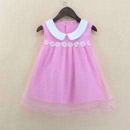 $enCountryForm.capitalKeyWord NZ - Kid baby girl lace princess Tutu dress pink sleeveless flower sundress solid party pageant dresses cute girls clothes