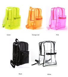 wholesale clear tote bags NZ - Clear PVC Backpack Waterproof Sholder bags Women Men Teenager Students School Bag Book Pack Transparent Travel Beach Bags Totes BIG Capacity