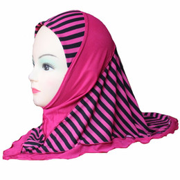 $enCountryForm.capitalKeyWord NZ - Girls Kids Muslim Hijab Islamic Arab Scarf Shawls Stripe Pattern Double Layers for 3 to 8 years old Girls