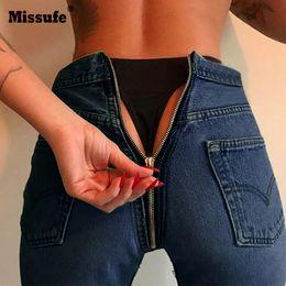 back zipper jeans 2019 - Missufe High Waist Skinny Dark Blue Jeans Women Chic Back Long Zipper Elastic Stretch Pencil Pants cheap back zipper jea