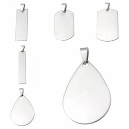 geometric necklace metal 2019 - FUNIQUE 10PCs Stainless Steel Oval & Rectangle Stamping Blank Pendant For Jewelry Making Silver Color Geometric Necklace