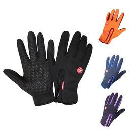 новый горячий Спорт на открытом воздухе противоударные рукавицы Велоспорт перчатки теплый нескользящей сенсорный экран водонепроницаемый велосипед перчатки езда тренажерный зал палец перчатки