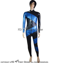 blue zentai catsuit NZ - Black With Blue Diagonals Sexy Latex Catsuit With Front Zipper And Crotch Zippers Rubber Bodysuit Zentai Overall LTY-0116