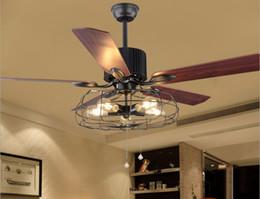 Lighted Fan Blades Australia - Loft Vintage Ceiling Fan Light E27 Edison 5 Bulbs Pendant Lamps Ceiling Fans Light 110V 220V 52 In. 5 Wooden Blades ( Bulbs included) LLFA