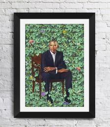 Barack Obama Kehinde Wiley Obras de Arte Os Retratos de Obama Decoração de Parede Pictures Art Print Home Decor Cartaz Da Lona Unframe 16 24 36 47 Cm venda por atacado