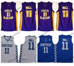 college shirts 2019 - Mens Vintage John Wall #11 Holy Rams High School Basketball Jerseys Cheap John Wall Kentucky Wildcats College Stitched S