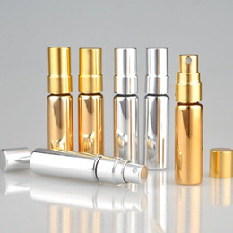 gold perfume bottle atomizer NZ - Most Popular Gold Silver 5ml Mini Portable Refillable Perfume Atomizer 5ml UV Glass Spray Bottles Empty Perfume Bottles In Stock !