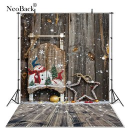 Discount vinyl photographic backgrounds - NewBack Full Size Vinyl Cloth Wood Snow Christmas Party Photographic background Vintage holiday Photo backdrops customiz