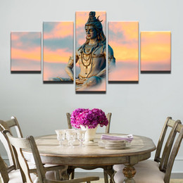 Background Prints Australia - Poster HD Wall 5 Pieces Great India Deities God Siva Canvas Painting Fashion Modular Art Prints Pictures Background Home Decor