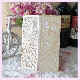 Discount lace invitation card designs - 25pcs hollow phoenix Design wedding invitation laser Luxury Wedding Invitations Card Elegant Lace Favor party supplies