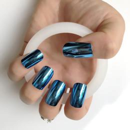 $enCountryForm.capitalKeyWord NZ - 24pcs kit Lake blue Long Square Flat head Press On Nails Mirror Metal False Nails Beautiful Shining Sexy Design Supplies