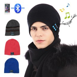 Wireless Usb Music Headphones Canada - New Fashion Beanie Hat Cap Wireless Bluetooth Earphone Smart Headset headphone Speaker Mic Winter Outdoor Sport Stereo Music Hat