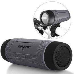 Wholesale Zealot S1 outdoor portable Wireless Bluetooth Speaker Home Subwoofer Bicycle bracket speaker With Emergency Outdoor Flash Light Power bank
