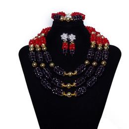 Indian Coral Beads Australia - Hot Sale 2018 Luxury Crystal Beads Handmade Wedding Jewelry Set Dubai Gold Necklace Nigerian Indian African Bridal Jewelry Sets SZ4-1