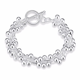 925 Silver Grape Bracelets UK - Women Fashion Silver Plated Jewelry 925 Solid Silver Smooth Grape Beads Charm Chain Bracelets & Bangles For Women Gift
