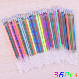 gel highlighters wholesale 2019 - 36Pcs   Set 36 colors a set flash ballpoint gel pen highlighters refill color full shinning refills painting ball point