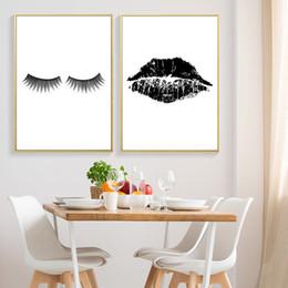 Lip Polish Australia - Lips Kiss Art Print Fashion Makeup Printable Wall Decor Black And White Nail Polish Print HD2509