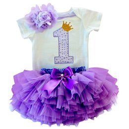 Baby Girl Clothing Sets One Year Birthday Party Costume Toddlers Girls 3Pcs Birthday Party Outfit Fascia + T-shirt + Abito tutu
