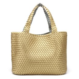 f02d7c9231b Super Good Quality Ladies Handmade Knitting Handbag Criss-Cross Woven Leather  Bag Women String Large Capacity Casual Tote Purse