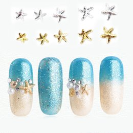 $enCountryForm.capitalKeyWord Canada - Starfish Nail Decoration 3Pcs Gold Silver 3D Studs Beads Ocean Beach Sea Style Acrylic for Manicure Polish UV Gel Rhinestones