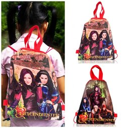 $enCountryForm.capitalKeyWord Australia - Free Shipping MOQ=12pcs Descendants Cartoon Drawstring Backpacks 34*27CM Non Woven Fabrics Shopping Bag Party Gift Bags For Kids Students