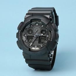 Envío de la gota Hombres de las mujeres de los deportes de la calidad superior del reloj Reloj digital de Ga100 48 Zona horaria reloj militar autolight impermeable con la caja y las etiquetas