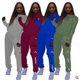 Wholesale Canvas Print Set UK - Women Fashion Print Tracksuit Top + Pants 2 Piece Woman Set Outfit Ladies female Sweatsuits 5 Colors Clothes Clothing