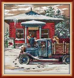 Christmas Post Office painting home decor paintings ,Handmade Cross Stitch Embroidery Needlework sets counted print on canvas DMC 14CT  11CT on Sale
