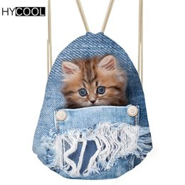 denim blue ladies shoes 2019 - HYCOOL Women Gym Bag For Fitness Sports Backpack Denim Cat Printed Men Outdoor Sporting Bags Lady Shoes Storage Pack Yog