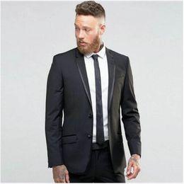 dinner coat men 2019 - Fashion 2 Piece Mens Suits Slim Fit Groom Tuxedos Groomsmen Wedding Party Dinner men latest coat pant designs black Man